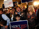 Gingrich supporters celebrate his win at a rally in Columbia, S.C.