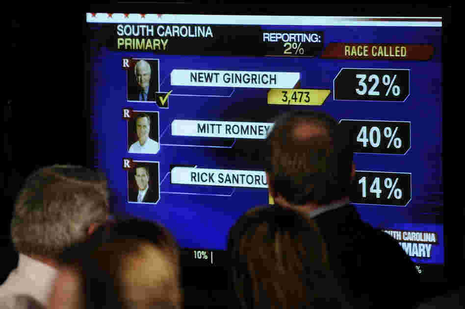 Romney supporters in Columbia, S.C., watch primary results roll in.