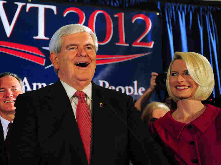 Newt Gingrich along with his wife, Callista, addresses supporters at the Hilton Hotel in Columbia, S.C. following his primary victory. South Carolina voters have chosen the GOP nominee since 1980.