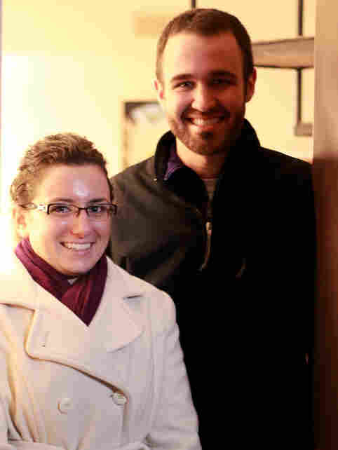 Melanie Singer stands with her boyfriend Eric Krissek. Singer spent a year after graduation searching for an accounting job before finally finding work.
