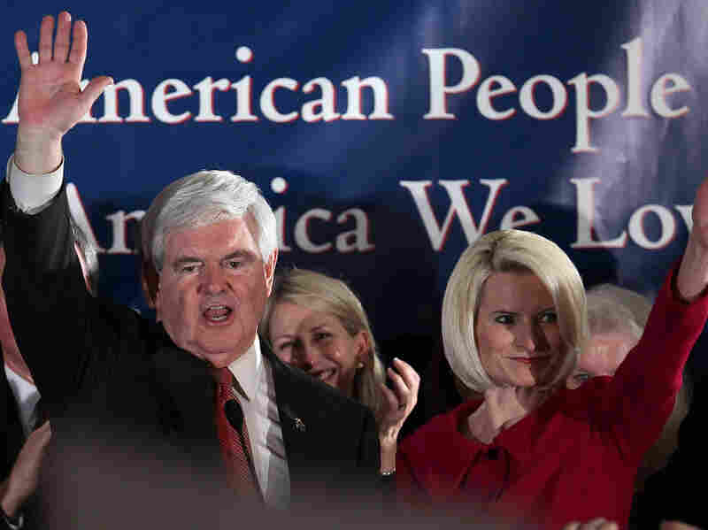 Republican presidential candidate, Newt Gingrich and his wife Callista Gingrich wave after addressing a primary night rally after he was declared the winner Jan. 21, 2012 in Columbia, South Carolina. With Gingrich finishing first in South Carolina's primary, a different candidate has emerged victorious in the first three contests for the Republican nomination.