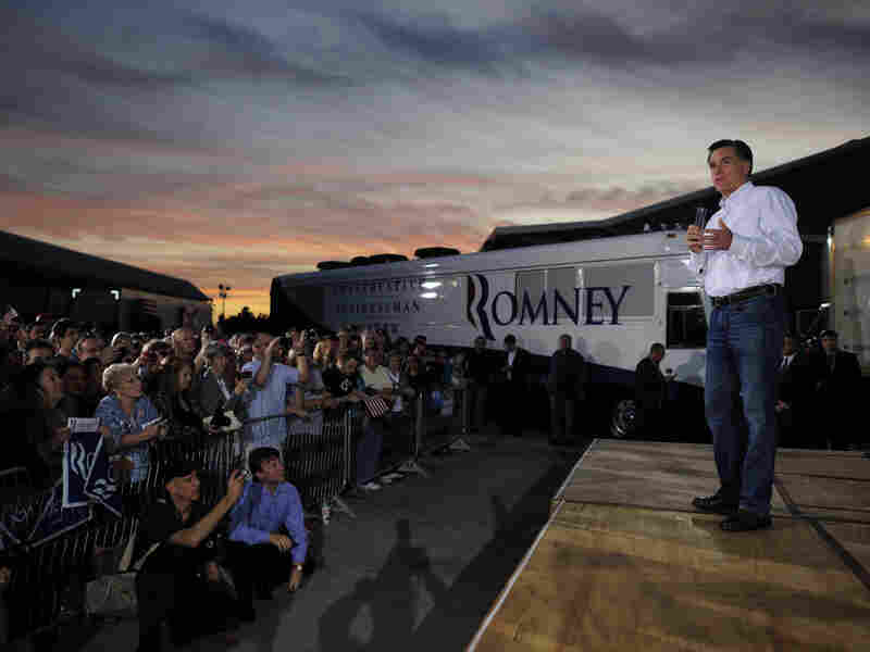 Republican presidential hopeful Mitt Romney holds a campaign rally at All-Star Building Materials in Ormond Beach, Florida, Jan. 22, 2012. Florida will hold its Republican primary on Jan. 31, 2012.