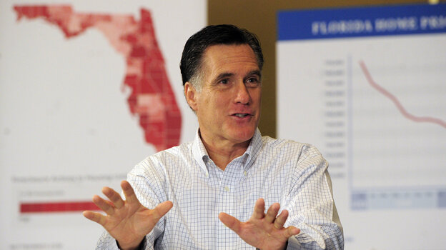 Former Massachusetts Gov. Mitt Romney campaigns in Tampa, Fla., on Monday.