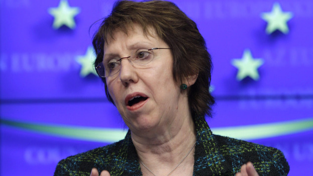 Catherine Ashton, the European Union foreign policy chief, speaks in Brussels on Monday following a meeting of EU foreign ministers. The EU has agreed to an embargo on buying oil from Iran in the latest sanction against that country for its nuclear program. (AP)