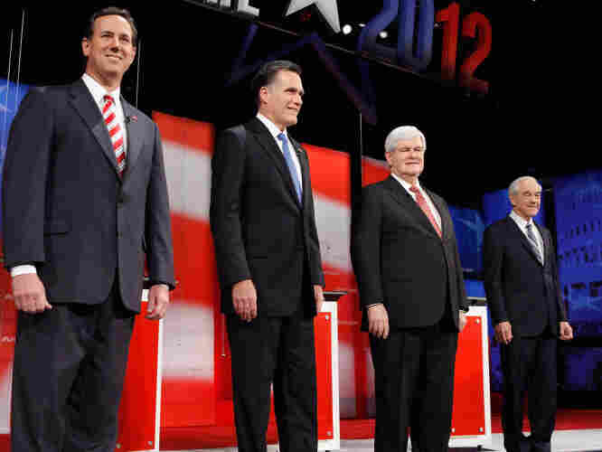 Left to right: Rick Santorum, Mitt Romney, Newt Gingrich and Ron Paul.