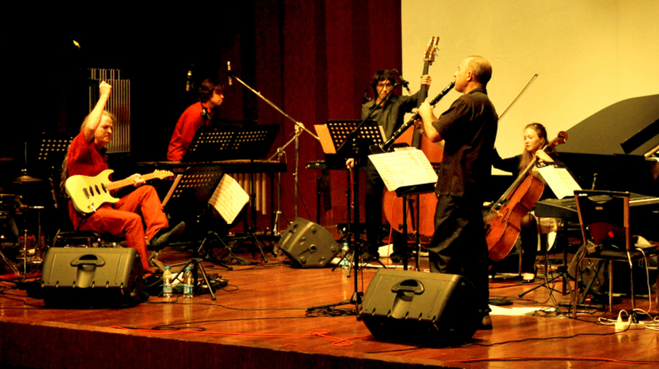 Members of the Bang on a Can All-Stars playing in Shanghai in 2009. (courtesy of the artists)