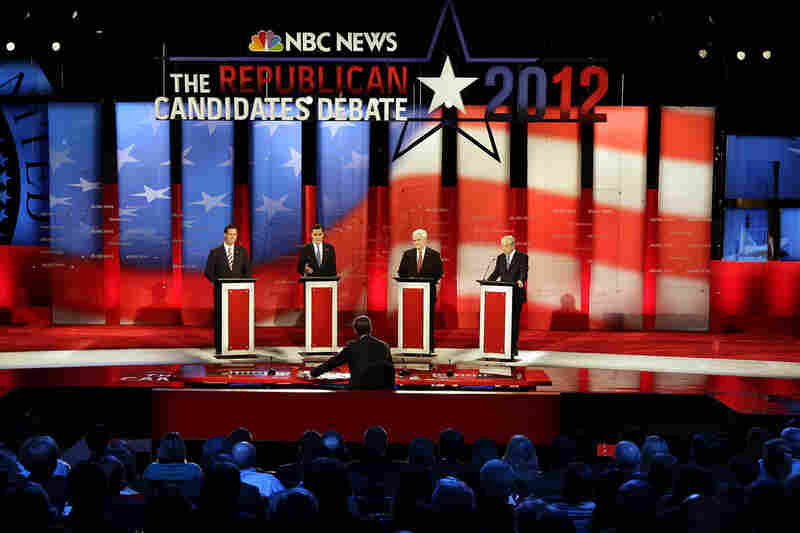 The Republican presidential candidates take the stage for the first of two debates held in Florida ahead of the state's Jan. 31 primary election.