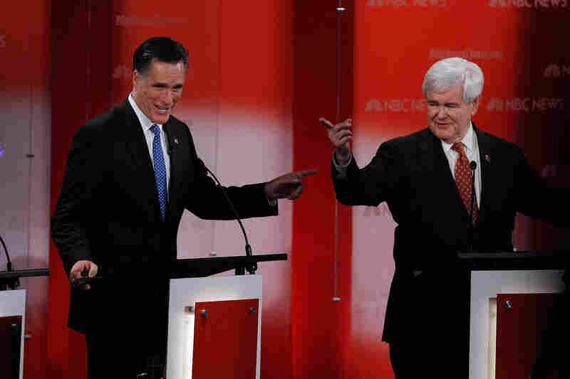 Mitt Romney clashes with Newt Gingrich in the early moments of the debate.