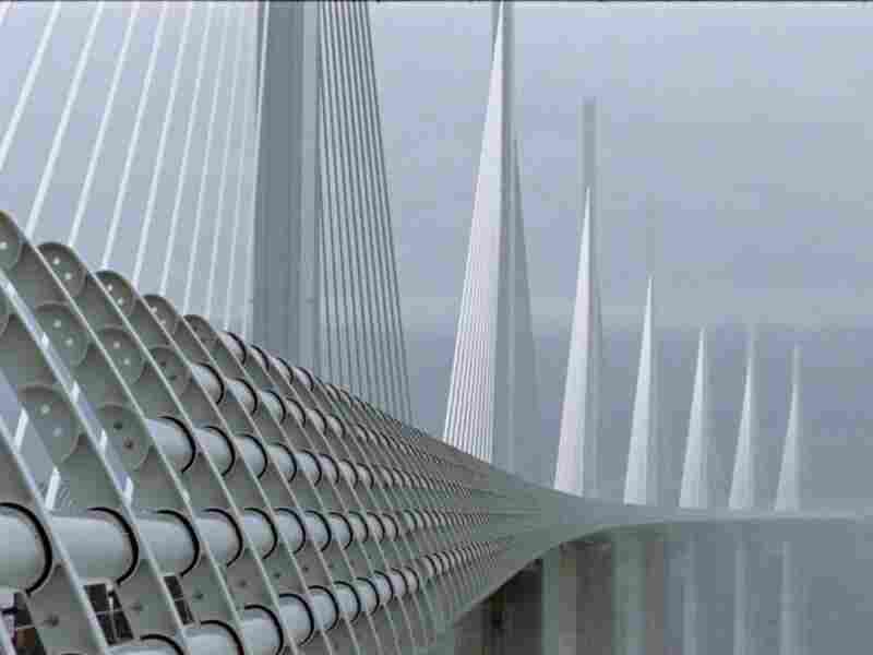 The Millau Viaduct, designed by Foster and Michel Virlogeux, stands in southern France as the tallest bridge in the world.