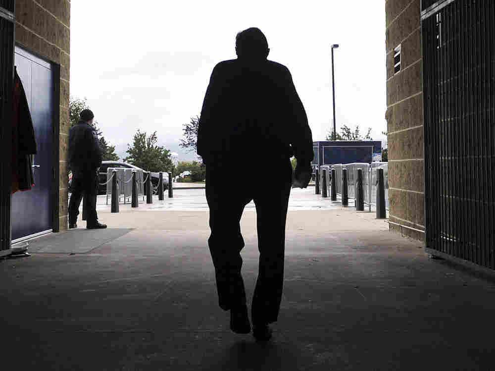 Joe Paterno leaving Beaver Stadium after his weekly news briefing in October, 2010.