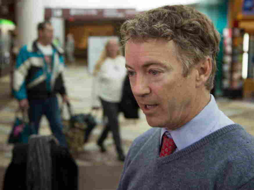 Sen. Rand Paul (R-Ky.) at the Nashville airport earlier today, talking about his delay at security.