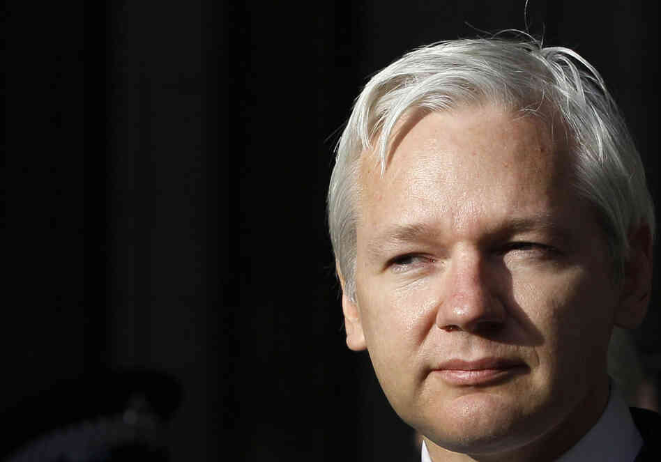 WikiLeaks founder Julian Assange pauses as