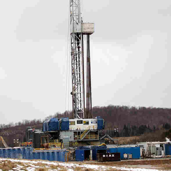 Hydraulic fracturing wells have been producing a tremendous amount of natural gas — far more than the current demand. Above, a Cabot Oil & Gas natural gas drill at a fracking site in South Montrose, Pa.