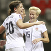 Abby Wambach and Megan Rapinoe celebrate an American goal against Guatemala during the 2012 CONCACAF Women's Olympic Qualifying Tournament. The Americans face Mexico Tuesday night.