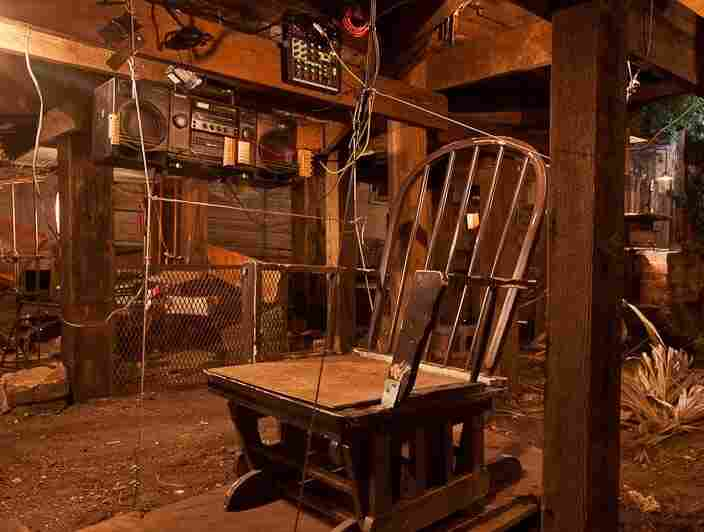 Rocking Chair, by Swiss musician and sound artist Simon Berz, is a rocker rigged with contact mics that create a grinding bass sound when a visitor sits down. Click here to listen.