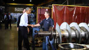 President Obama tours Conveyor Engineering and Manufacturing in Cedar Rapids, Iowa, on Wednesday.