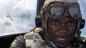 "David Oyelowo portrays Joe ""Lightning"" Little in the movie Red Tails. Oyelowo and other actors got guidance on from real Tuskegee Airmen, some of whom are nearly 100 years old."