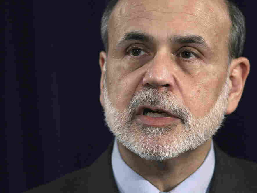 Federal Reserve Chairman Ben Bernanke during his news conference this afternoon.