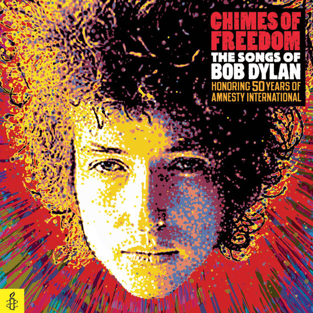 The cover of Chimes of Freedom: The Songs of Bob Dylan, a 75-song tribute collection to honor the 50th anniversary of Amnesty International.
