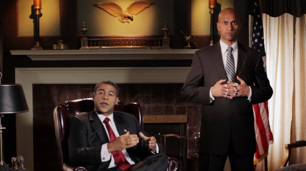 """Jordan Peele (left) plays President Obama and Keegan-Michael Key (right) plays his """"anger translator"""" in a sketch  from Key & Peele, premiering Jan. 31 on Comedy Central. (Comedy Central)"""