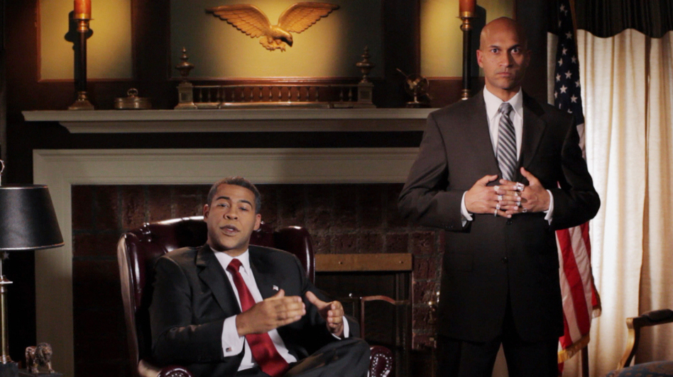 "Jordan Peele (left) plays President Obama and Keegan-Michael Key (right) plays his ""anger translator"" in a sketch  from <em>Key & Peele,</em> premiering Jan. 31 on Comedy Central."