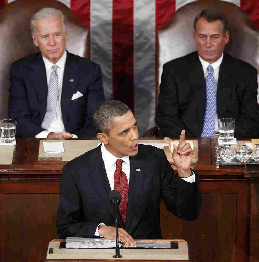 President Obama delivers the State of the Union address at the Capitol on Tuesday.