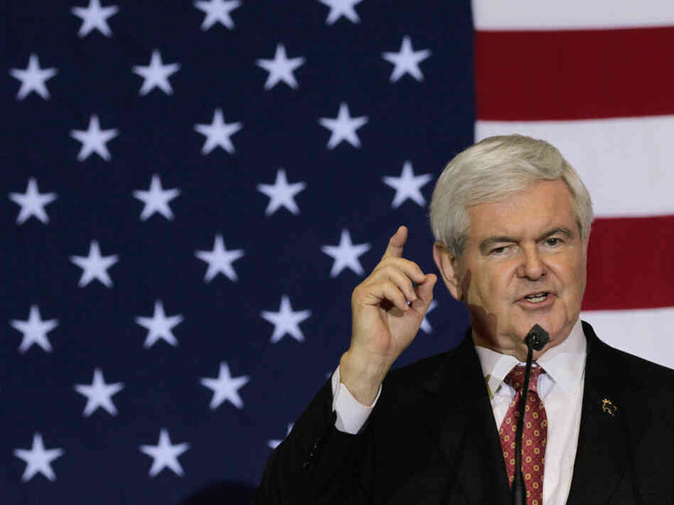 Republican presidential candidate Newt Gingrich speaks at a Space Coast Town Hall Meeting on Jan. 25, 2012 in Cocoa, Florida. Among issues discussed at the town hall meeting were Gingrich's space plans.