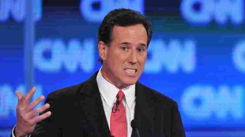 Former Pennsylvania Sen. Rick Santorum at Thursday's debate in Jacksonville, Fla.
