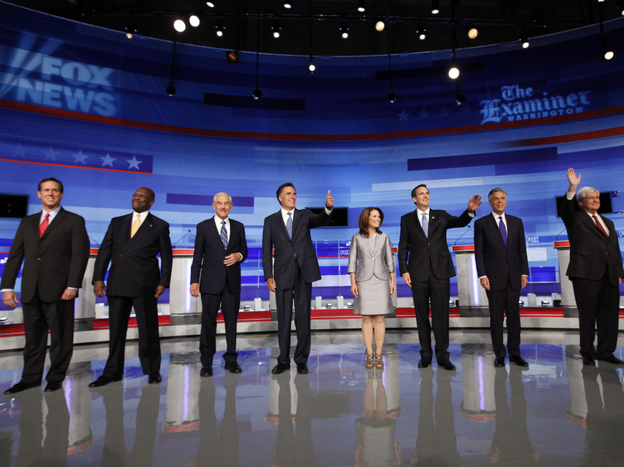 Republican presidential candidates participate in one of the campaign's earliest debates, Aug. 11, 2011, in Ames, Iowa.