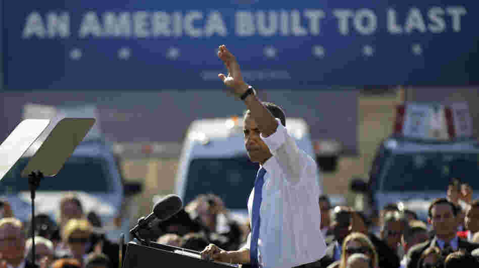 President Obama waves after speaking at a UPS facility in Las Vegas on Thursday. Nevada is one stop on the president's latest road trip focusing on the economy.