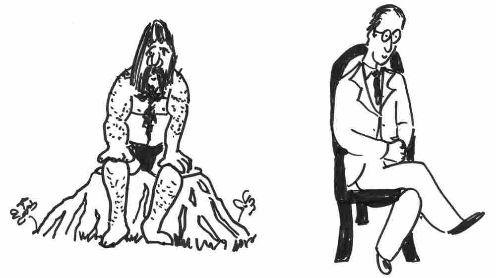 Cave man sitting on a stump and a man sitting on a modern chair.