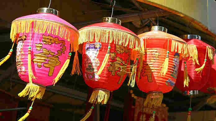 Lucky paper lanterns in a shop in Manhattan's Chinatown.