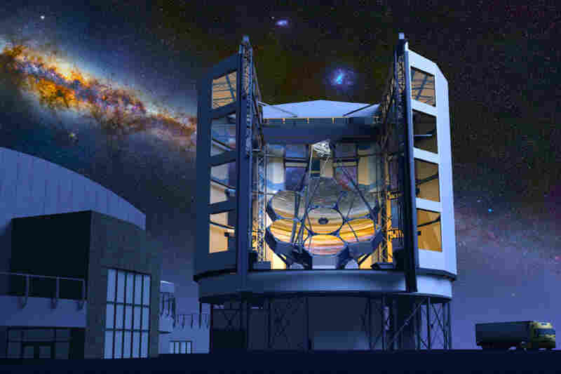 Giant Magellan Telescope (GMT)This telescope will be on the Las Campanas Peak in the Andes Mountains in Chile. The main mirror consists of seven 27.6-foot-diameter mirrors; together, they'll create a total light-collecting area that's 80.4 feet across.