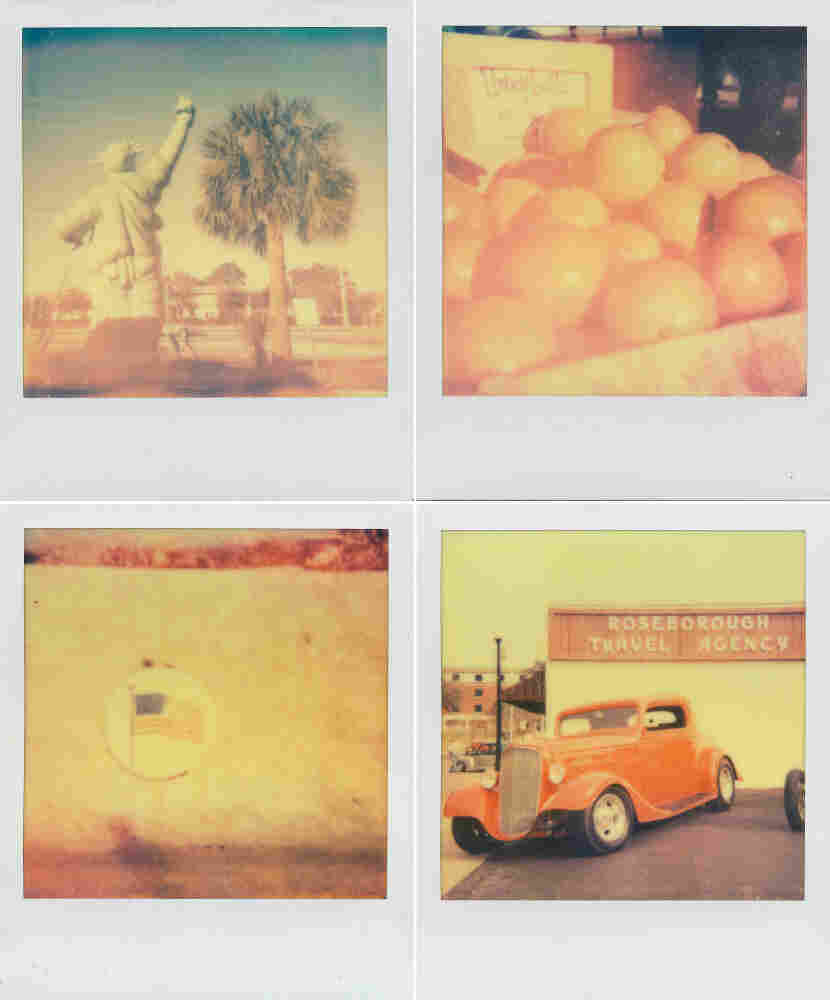 Clockwise from top left: Statue of Liberty in Kissimmee, Honeybell oranges, an American flag in DeLand, and a classic car show. Shot with Impossible Project film.