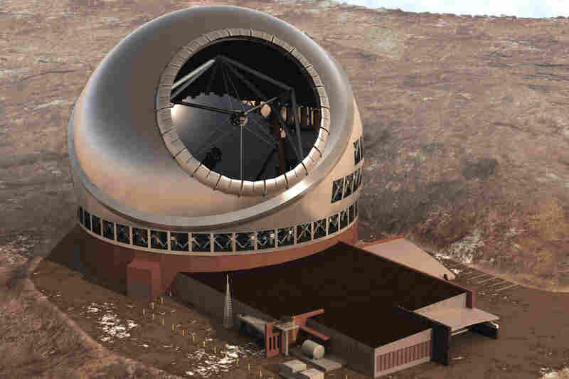 Thirty Meter Telescope (TMT)As the name suggests, this telescope has a light-collecting area that's 30 meters, or 98.4 feet, across. The main mirror comprises 492 smaller hexagonal mirrors – it's a larger version of the design used in the existing 10-meter Keck Telescope. The TMT will be on Mauna Kea in Hawaii.