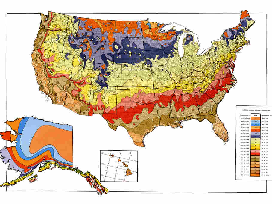 The last iteration of the Plant Hardiness Zone Map, from 1990. In the 2012 map, many zone boundaries have shifted significantly.
