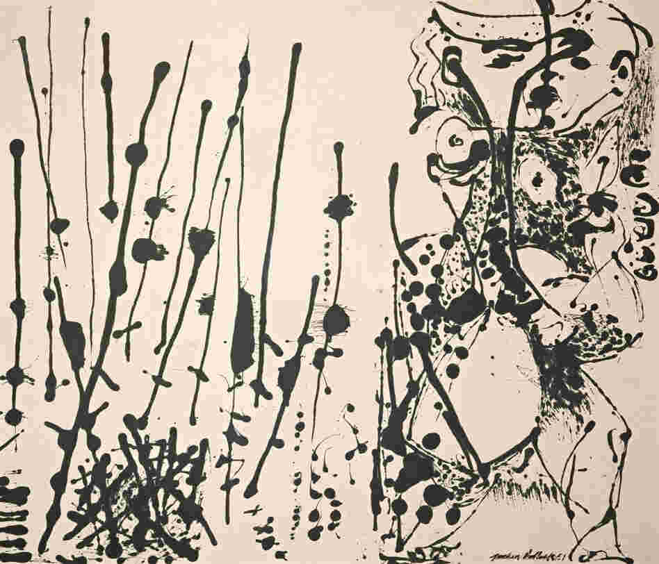 Influenced by Mexican and Native American art, Pollock popularized action-painting and drip style, as seen in Number 7, 1951.
