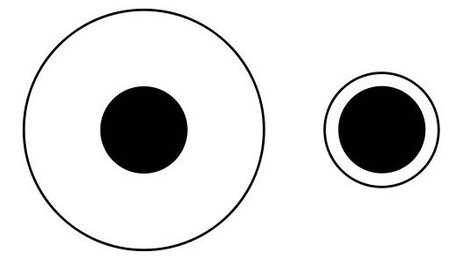 The Delboeuf illusion makes one dot appear larger than the other. But they're the same size. Your brain is misled by comparing the dots to the surrounding circles.
