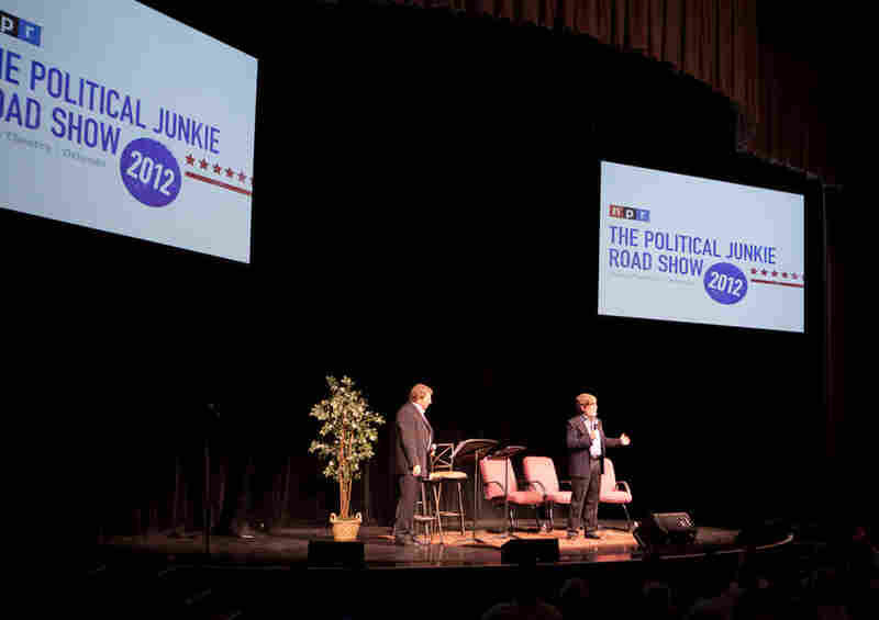 NPR's Ken Rudin (left) and Neal Conan (right) quiz the audience with Florida government trivia, the Scuttle Button puzzle and debate blooper history.