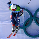 American Daron Rahlves competes during the men's freestyle ski cross qualification at Cypress Mountain during the Vancouver Winter Olympics.