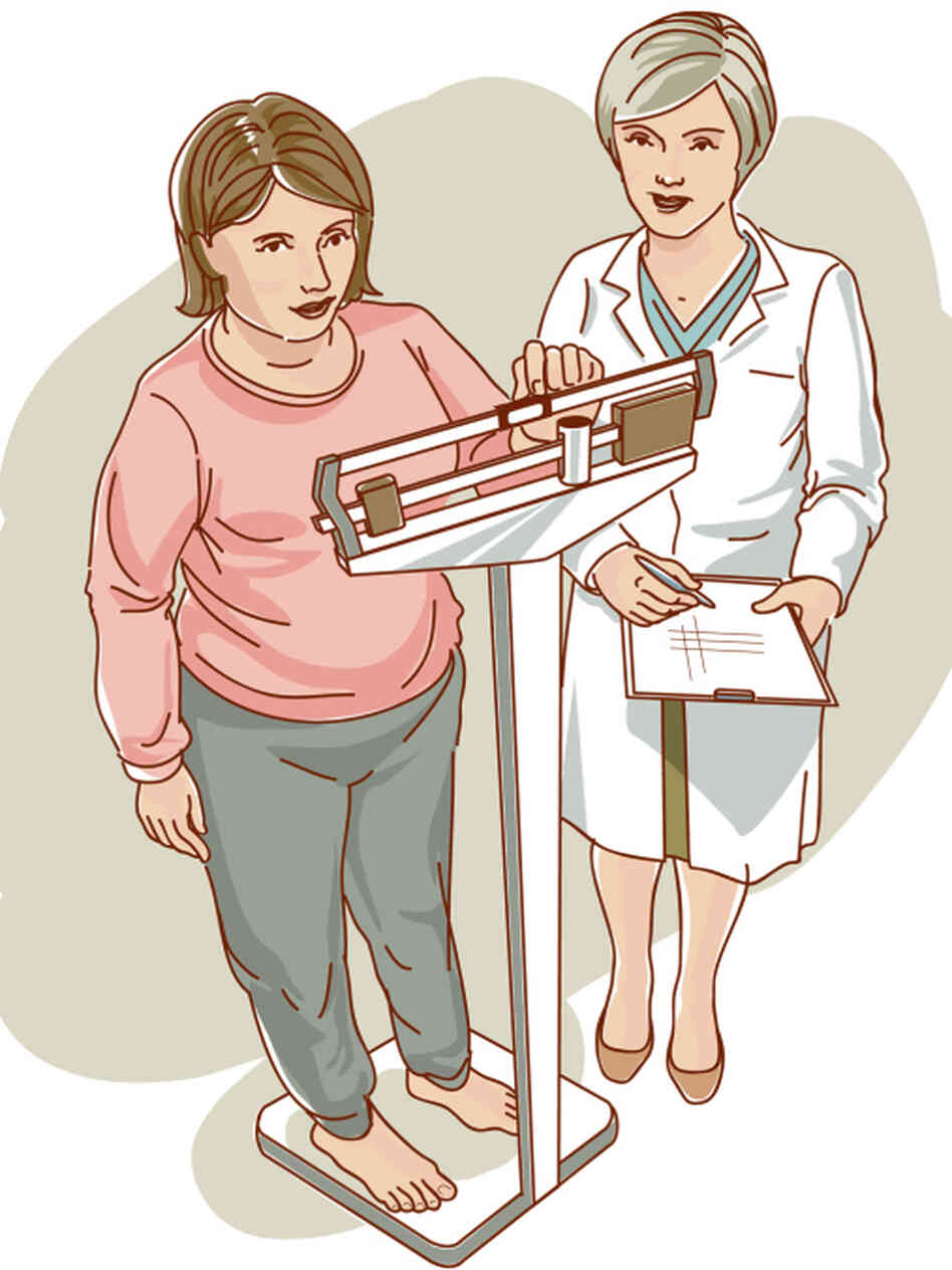 A doctor watches a patient on a scale.