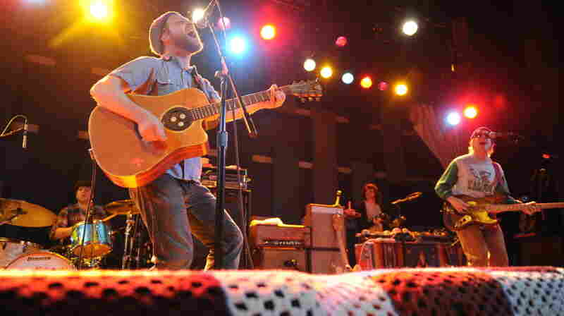Toby Leaman (left) swapped his bass for an acoustic guitar for one song with his band, Dr. Dog.