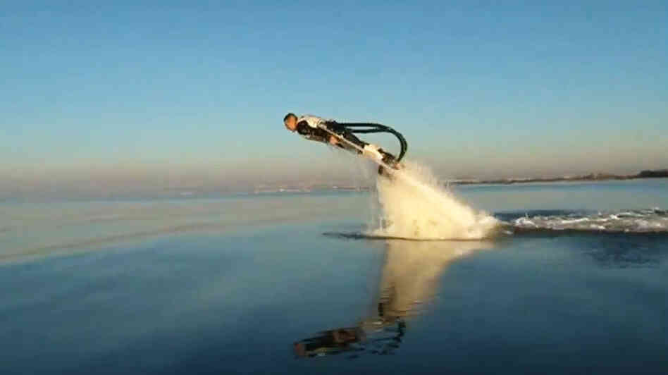 The Flyboard, invented by Franky Zapata, allows propulsion underwater and in the air.