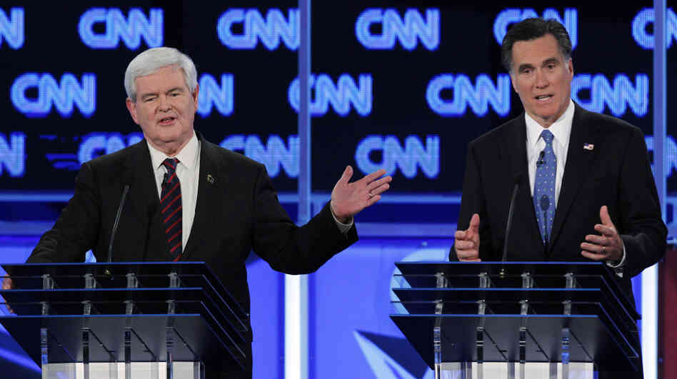 On Thursday night in Jacksonville, Fla., Mitt Romney (right) went after Newt Gingrich from the start on topics such as immigration and colonizing the moon.