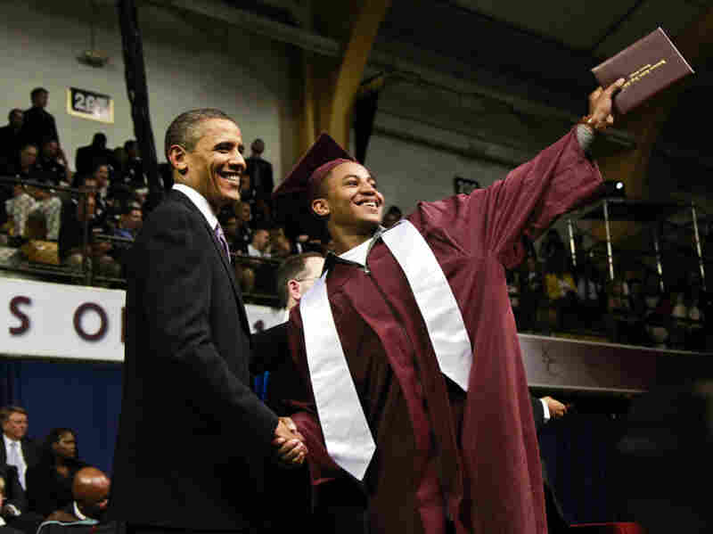 President Obama delivers the commencement address for Kalamazoo Central High School's class of 2007 in Kalamazoo, Mich. The state requires students to stay in school until they turn 18.