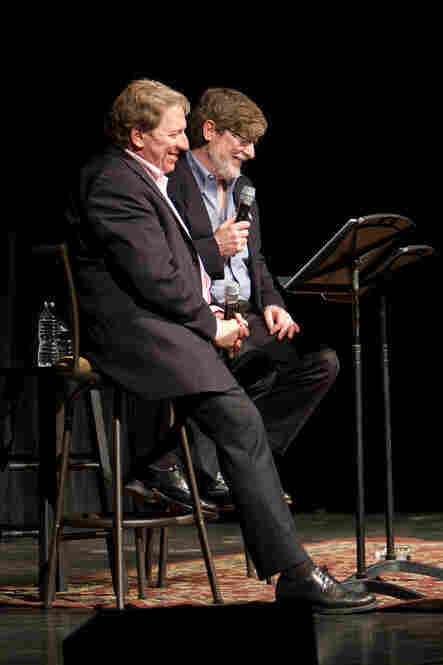 Ken Rudin (left) and Neal Conan (right) on stage during Political Junkie's first ever live show in Orlando, Fl.