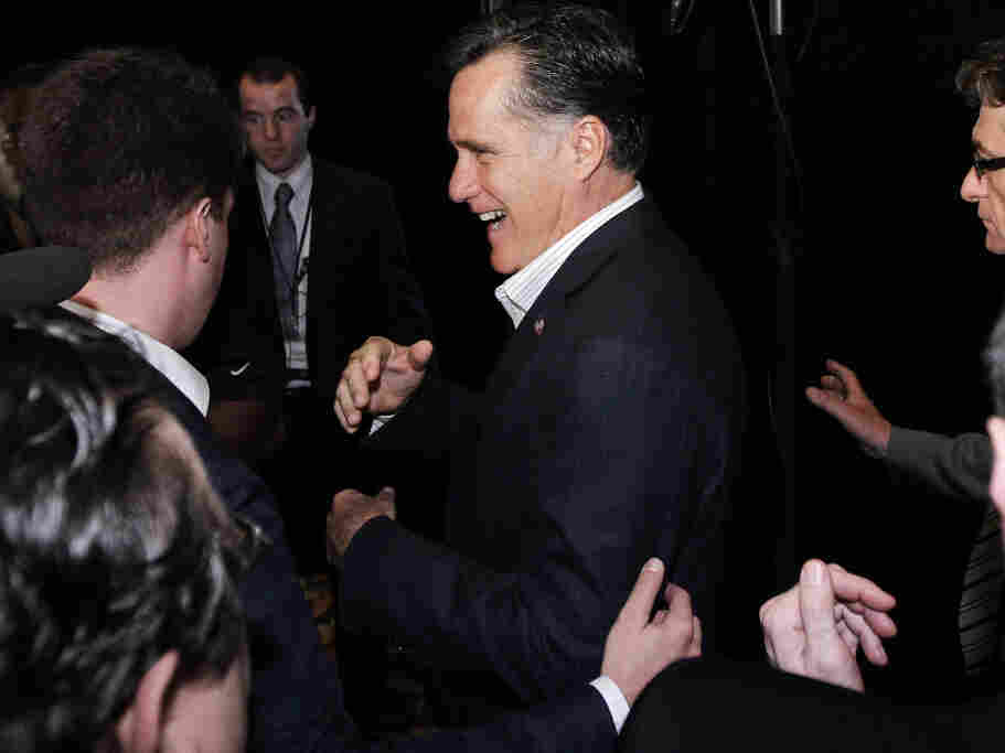 Fresh from a confident debate performance, former Massachusetts Gov. Mitt Romney was jaunty as he campaigned at the Hispanic Leadership Network's lunch in Miami on Friday.