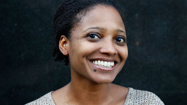 Tracy K. Smith poses for a portrait outside of NPR headquarters in Washington, D.C., on Friday. (NPR)