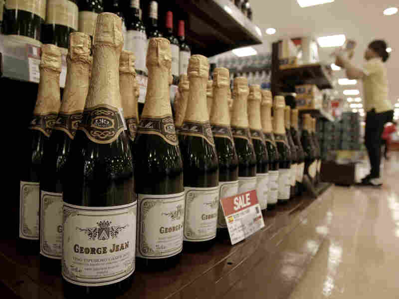 Imported Spanish wine is displayed at a store in Seoul, South Korea.
