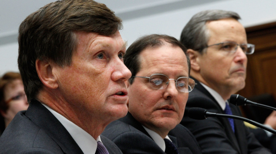 In December, Freddie Mac CEO Charles Haldeman, FHFA acting Director Edward DeMarco and Fannie Mae CEO Michael Williams testified on Capitol Hill about the Federal Housing Finance Agency's performance.  (Getty Images)